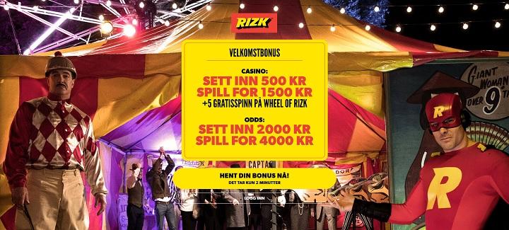 Rizk casino med god bonus i Norge
